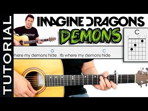 Como tocar DEMONS de Imagine Dragons en guitarra TUTORIAL COMPLETO
