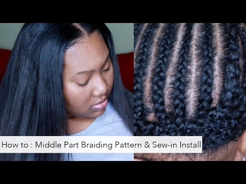How To: Braiding pattern for a Middle part and Install Tutorial