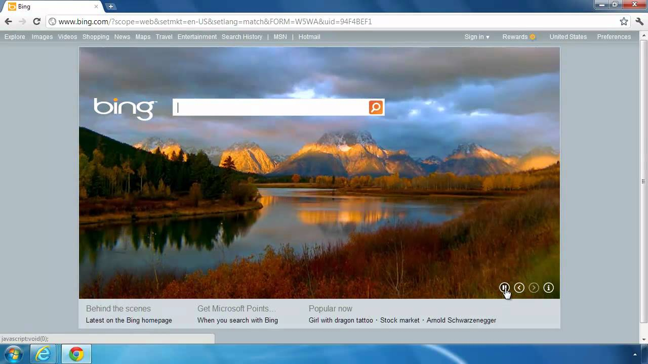 Bing Homepage With Video Wallpaper