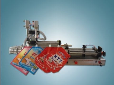 horizontal spout filling machine double heads stand up bag liquid&lotion filler  أفقي ملء آلة