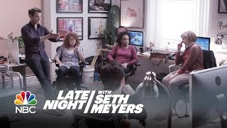 Lena Dunham Takes Over the Writing Room on Late Night with Seth Meyers