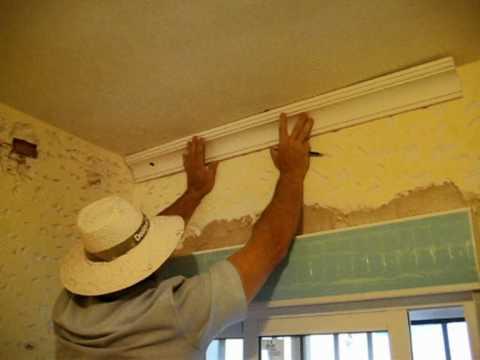 Marcado de l neas en techo 2 c mo colocar molduras de - Molduras de escayola en madrid ...