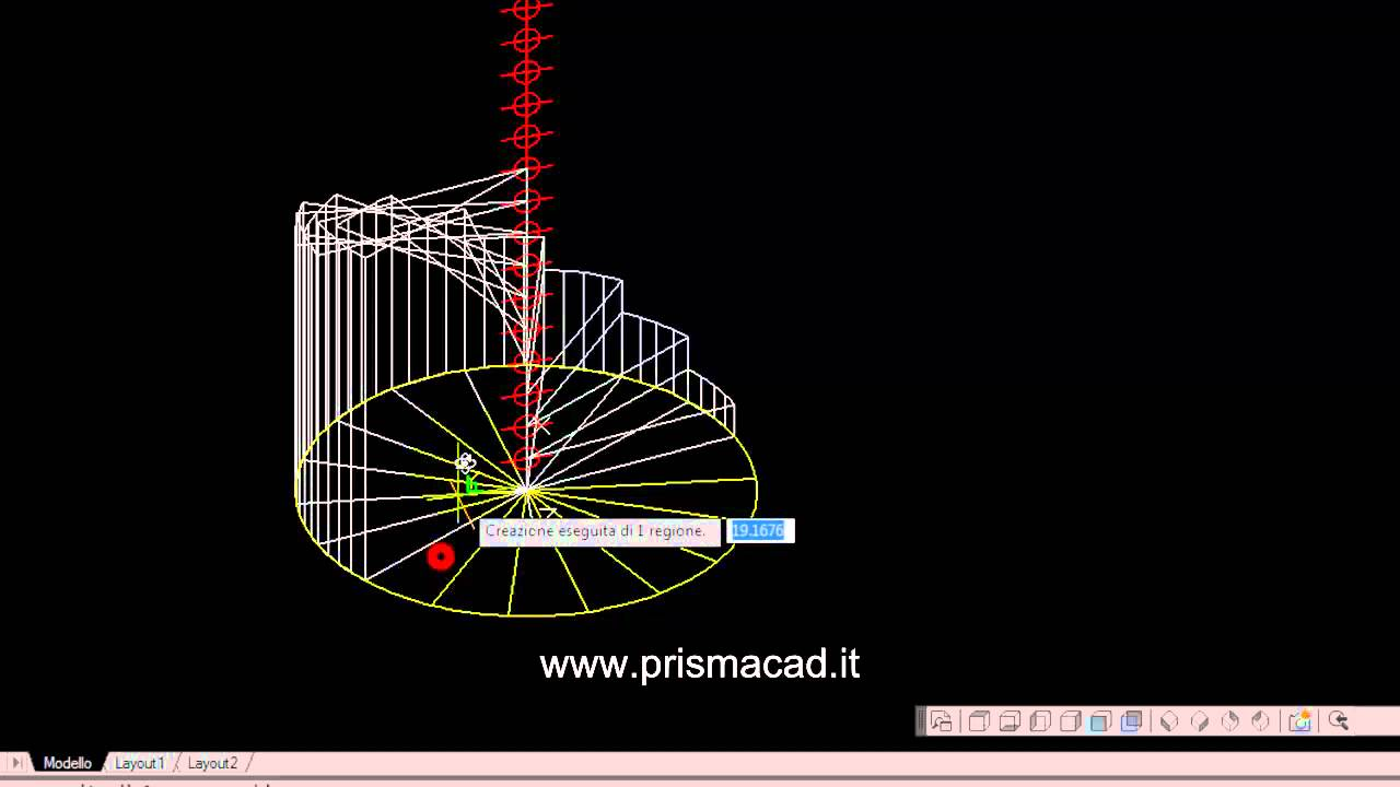 Corso autocad costruire una scala a chiocciola 3d helix for Scala a chiocciola 3d