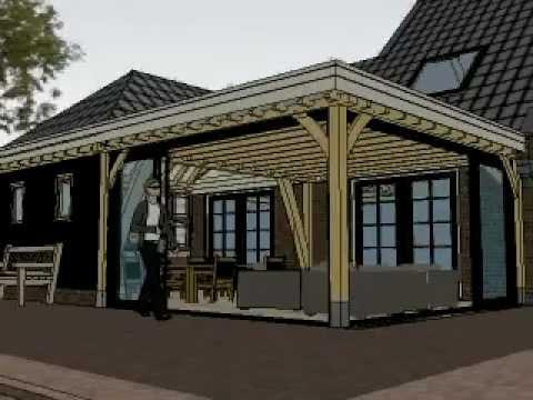 Eiken aanbouw met deels plat dak en schildak met gebint for Goedkope woning bouwen