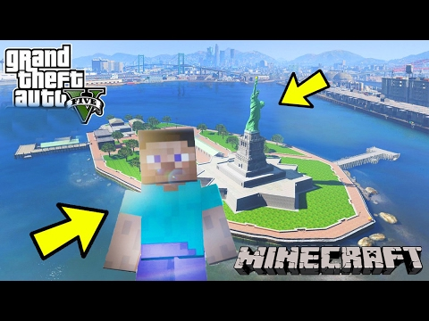 GTA 5 Mods - Steve Minecraft thăm tượng Nữ Thần Tự Do ở New York