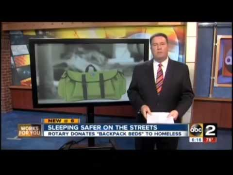USA TV, ABC - Backpack Beds save Baltimore homeless - Swags for Homeless - 15 May 2013