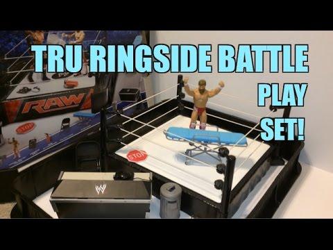 WWE ACTION INSIDER: Ringside Battle Playset! ToysRus Exclusive Mattel Wrestling Figure Ring!