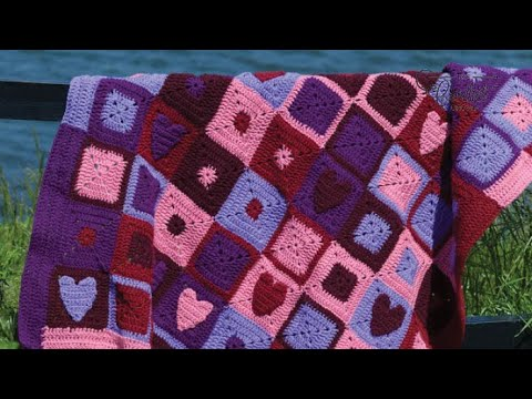 Happy Hearts Afghan WR1658 - Free Craft Patterns | Purple