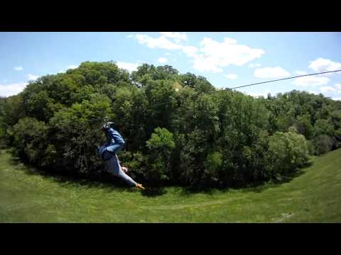 ziplining fun like the Geico insurance commercial piggy - Weeeee