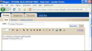 Video Cara Membuat Blog di Blogspot
