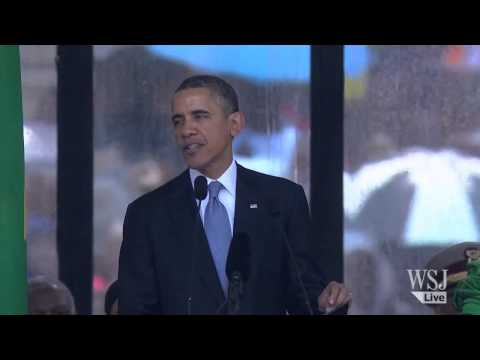 President Obama Speaks at Nelson Mandela's Funeral