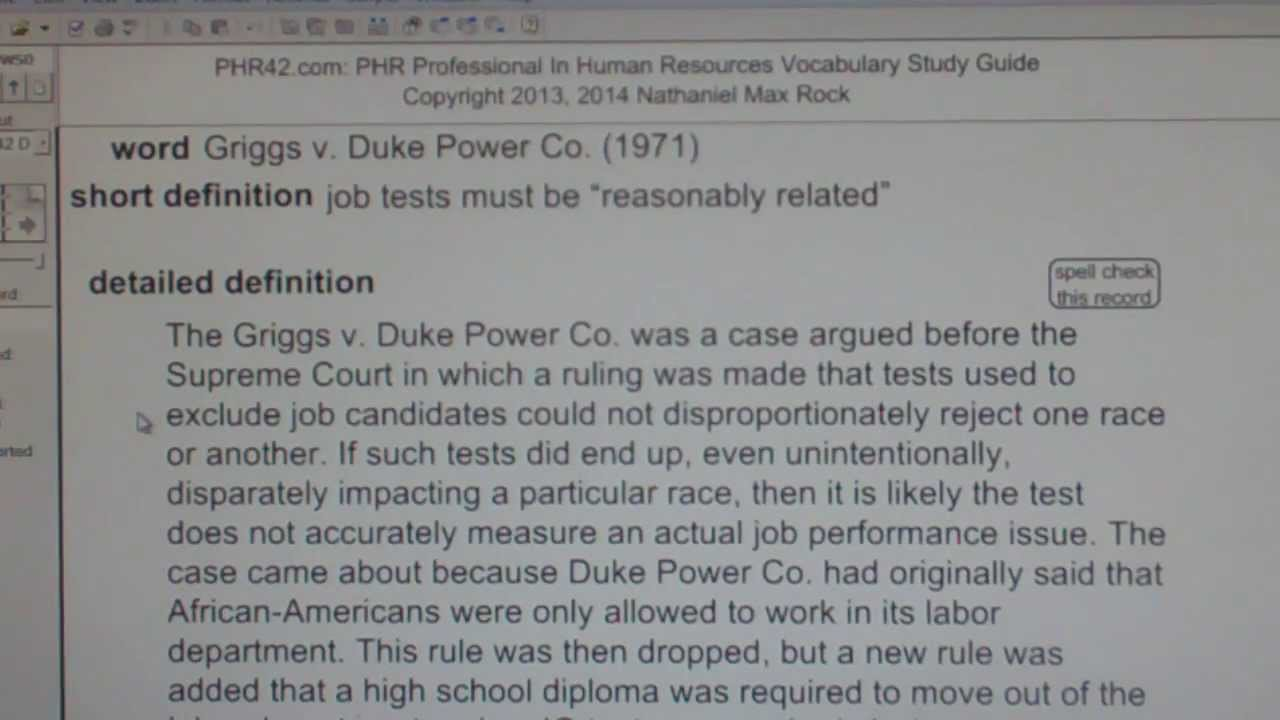 griggs vs duke power Decided in 1971, this decision is generally held to have laid the foundation for affirmative action programs based on the rationale of under representation t(.