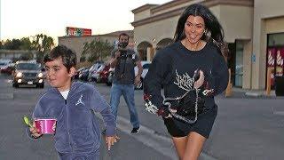 Kourtney Kardashian Makes A Mad Dash For FroYo With Mason
