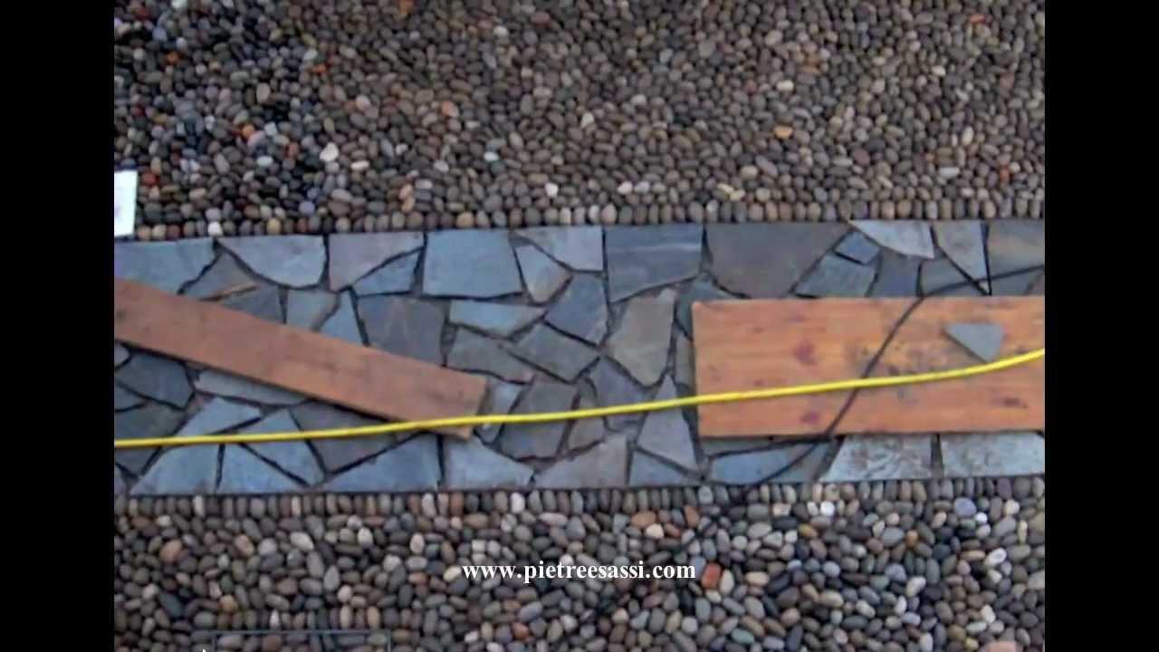 Pietre e Sassi: pavimento esterno in ciottoli di fiume e mosaico di luserna - YouTube