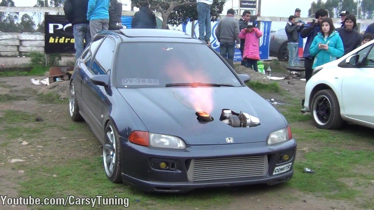 Honda Civic Big Turbo Antilag Flames Youtube