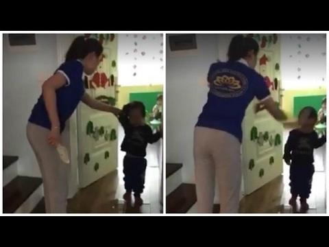 Clip: Cô giáo mầm non cầm dép đánh vào mặt trẻ