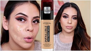 NEW L'OREAL INFALLIBLE FRESH WEAR 24HR FOUNDATION: FIRST IMPRESSION, REVIEW & DEMO! | JuicyJas