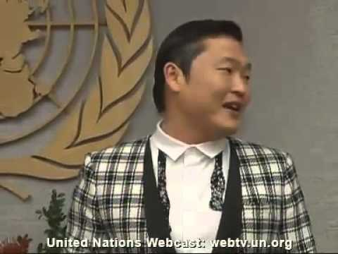 Secretary-General Ban Ki-moon and PSY, Korean singer