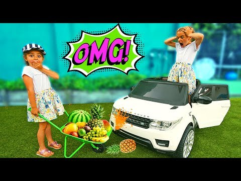 GISELE & CLAUDIA PRETEND PLAY WITH FRUIT COLORS IN GARDEN!!  FUNNY VIDEO EDUCATIONAL By LAS RATITAS