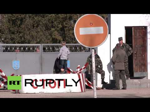 Ukraine: Local self-defence units blockade Crimean military base