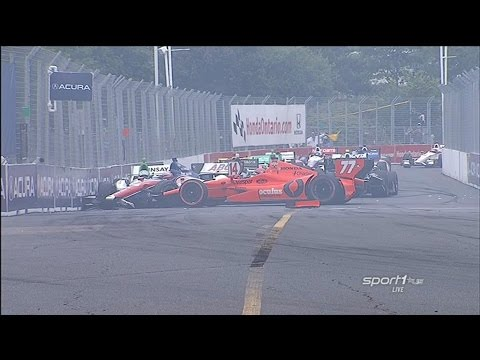 Big Pile Up @ 2014 Indy Car Toronto Race 1