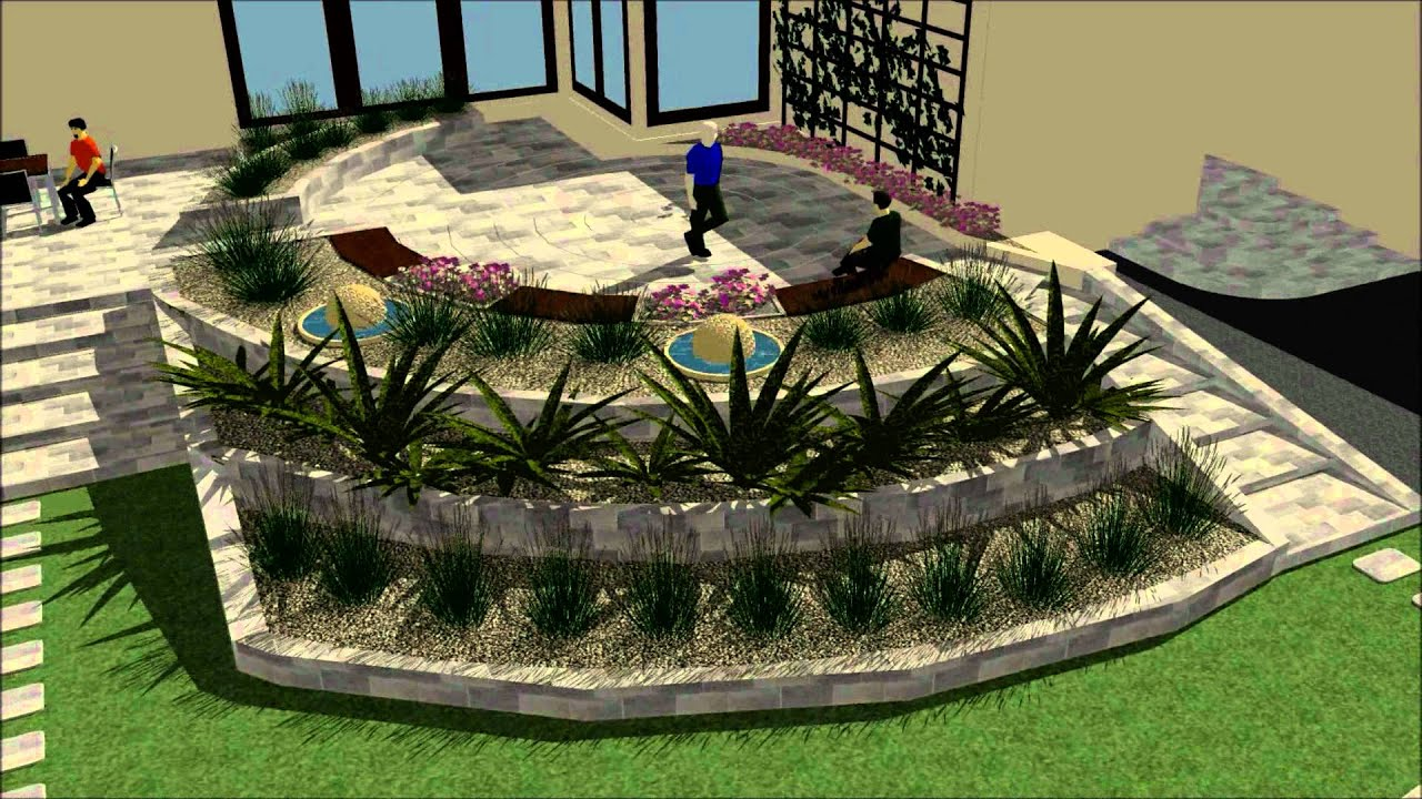 Virtual walk throught back garden gabion garden design for Garden design galway