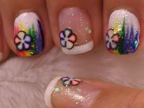 Cute and Simple Nail Art On Short Nails - Rainbow with Fimo Slices, ❤Nail Art Supplies❤ http://www.cupcakenailart.com A cute and easy rainbow nail art with some cute fimo slices to spice it up. Pretty much anyone can do this ...