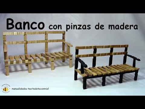 banco con pinzas de madera manualidades  / bench or sofa