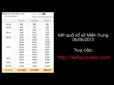 Xổ số Miền Trung ngày 06/06/2013 - ketquaveso.com