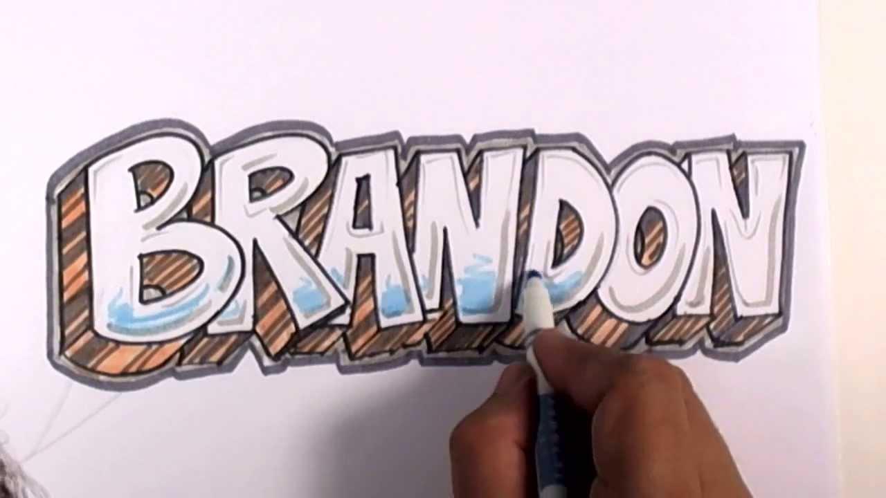 graffiti writing brandon name design 17 in 50 names promotion youtube. Black Bedroom Furniture Sets. Home Design Ideas