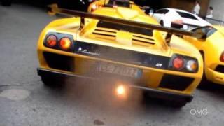 Lamborghini Diablo GT (16/80) loud sound: backfire, hard revving and accelerating!
