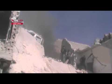 Raw: Airstrikes Cause Damage in Syria