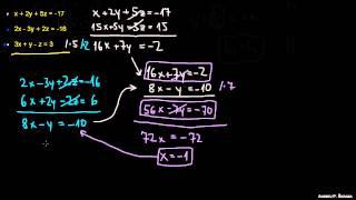 Sistem enačb s tremi neznankami 2