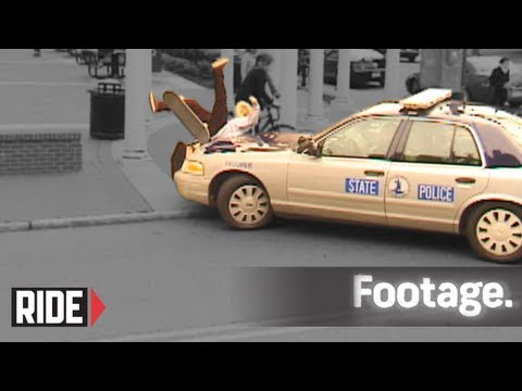 Cop Car Runs Over Skateboarder!!!