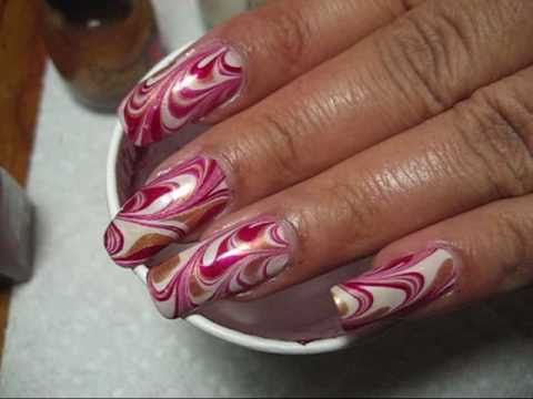 Red, Gold & White Christmas Water Marble Nail Art Tutorial - YouTube