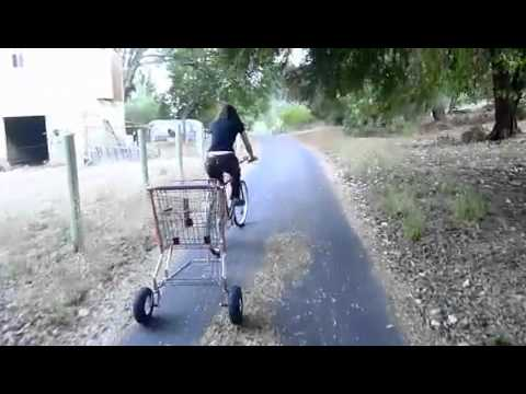 Shopping Cart Bicycle Trailer test ride