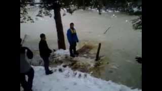 kid falls in almost frozen water