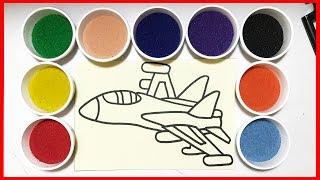 Tô tranh cát máy bay phản lực, đồ chơi trẻ em, Learn colors Sand Painting (Chim Xinh)