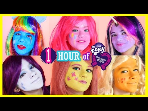 1 HOUR MY LITTLE PONY MANE 6 FACE PAINT CHALLENGES! Rainbow Dash, Pinkie Pie & Twilight Sparkles!