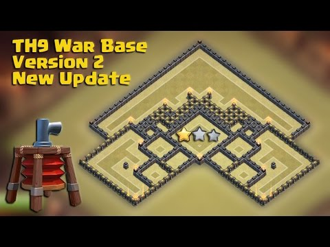 Town hall 9 (TH9) Best War Base 2015 Version 2 New Update Air Sweeper + All combo TH10 Attack Replay