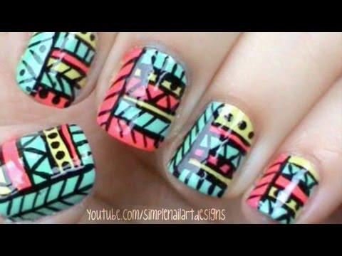 Tribal Print Nail Art Nails Video