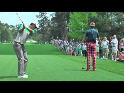 Ian Poulter and Justin Rose practising on the 7th hole Augusta National 2013