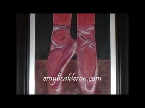 Zapatillas de Ballet Pintura, Ballet shoes Painting Dibujo (Drawing) EmilyCalderon.com