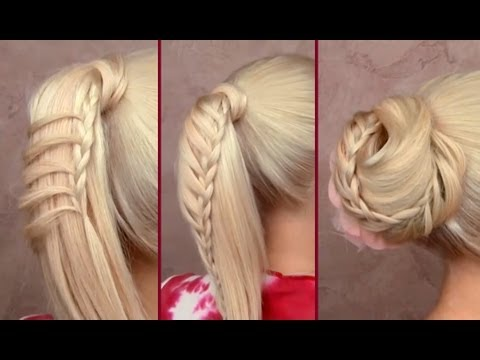 Cute back to school hairstyles for everyday Braided ponytail Top knot updo for long hair tutorial