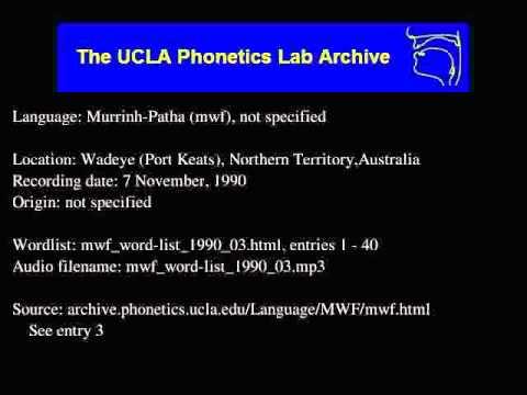 Murrinh-patha audio: mwf_word-list_1990_03