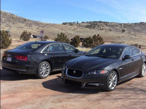 2012 Audi A8 L vs Jaguar XF Mashup Drag Race Review