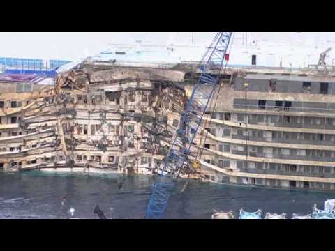 Damage Costa Concordia after rising the ship