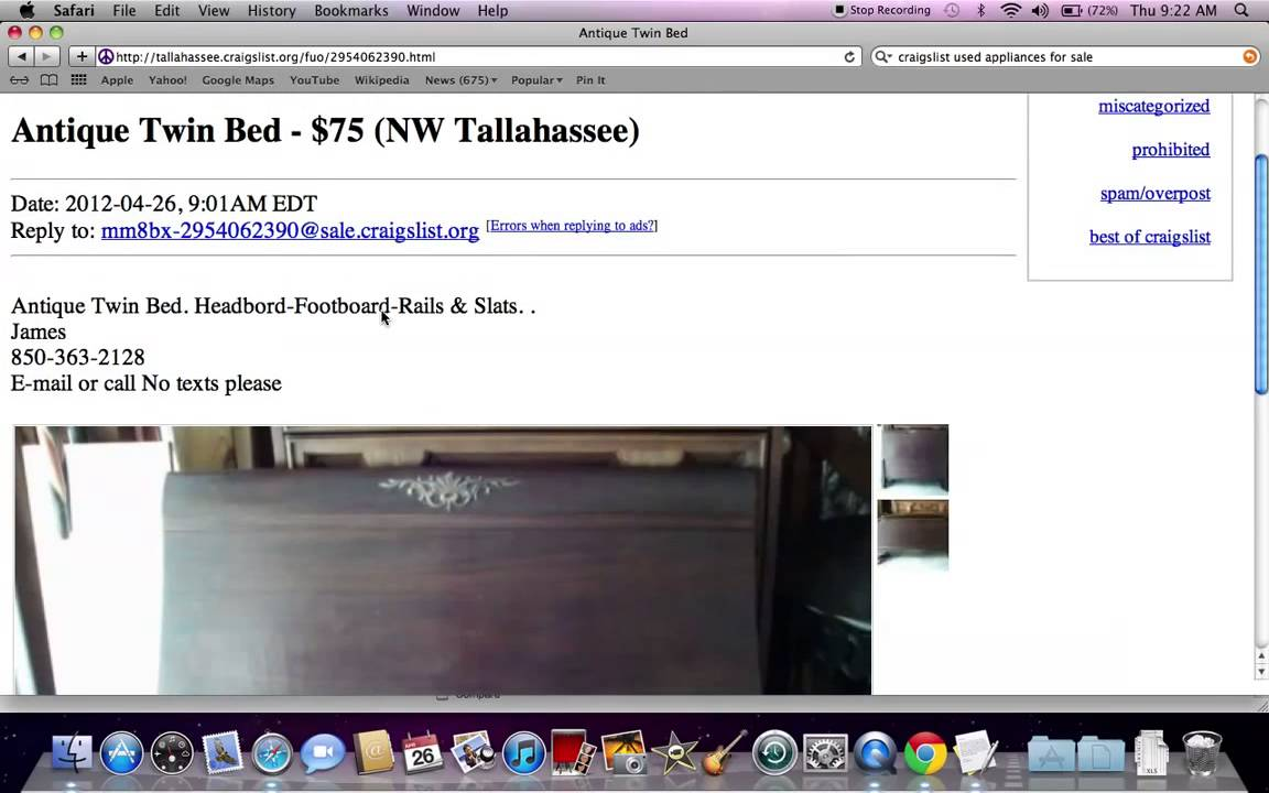 Under $100 Craigslist used furniture for sale by Owner