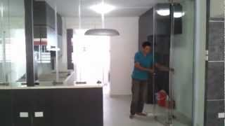 Frameless Door System(Close Demo Video) Singapore