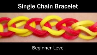 How To Make A Rubber Band Single Chain Bracelet Easy Level